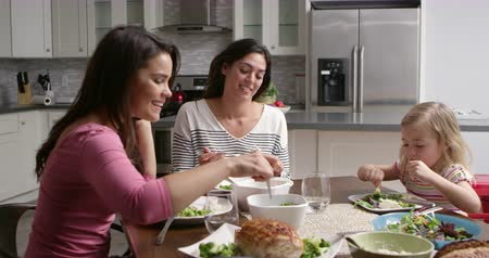 sexo : Female gay couple and daughter having dinner in their kitchen, shot on R3D