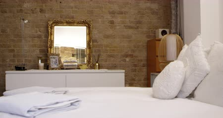exposed brickwork : Bedroom Area In Modern Stylish Apartment