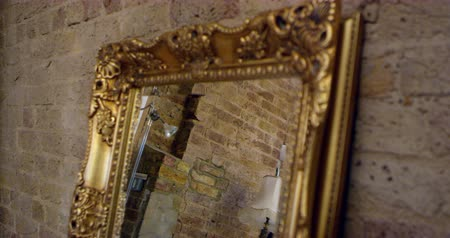 exposed brickwork : Mirror On Dressing Table In Bedroom Of Apartment Shot On R3D Stock Footage