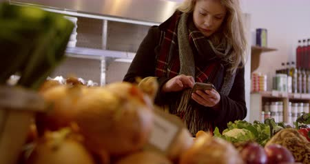 bakkal : Woman With List On Mobile Phone In Delicatessen