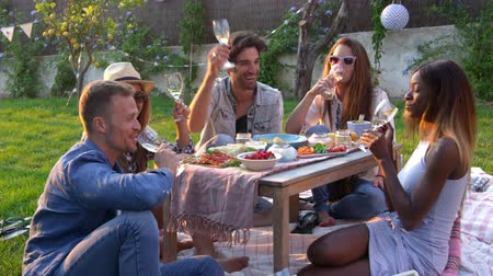 festa : Group Of Friends Enjoying Outdoor Picnic In Garden