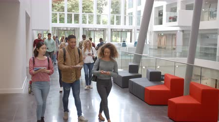 entrance : Students walk through the foyer of a modern university