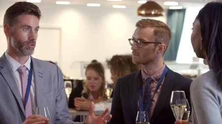 businesspeople : Delegates Networking At Conference Drinks Reception Stock Footage