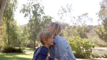 focus on foreground : Mother lifting up her son and embracing in a park Stock Footage