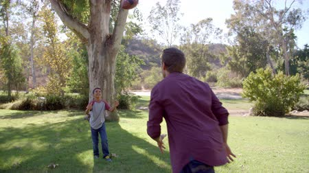alcançar : Boy and his dad playing with American football in a park