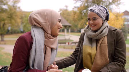 paquistão : Two British Muslim Women Meeting In Urban Park Stock Footage