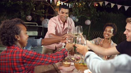 each other : Young man stands to make a toast at an outdoor dinner party Stock Footage