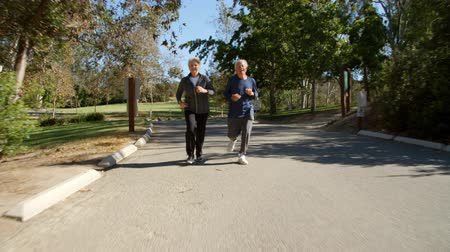 Senior Couple Exercising With Run Through Park Stok Video