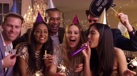 brazil : Group Of Friends Celebrating At New Year Party Together