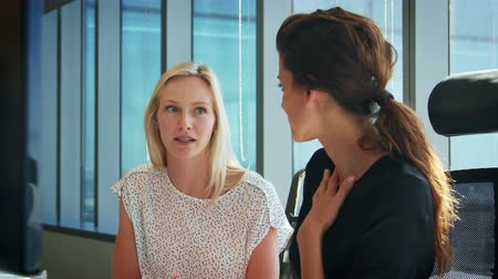projektant : Two Businesswomen Working At Desks Have Discussion Together