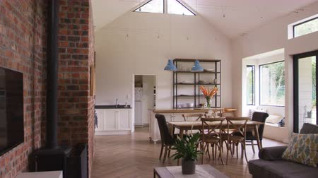 exposed brickwork : Home Interior With Open Plan Kitchen, Lounge And Dining Area