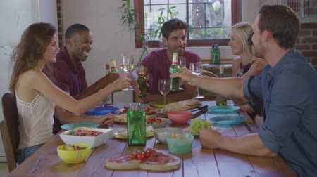 socialising : Six young adult friends making a toast at a dinner party, shot on R3D