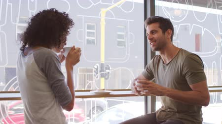 breaktime : Couple Meeting For Date In Coffee Shop Shot In Slow Motion