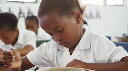 pasu nahoru : Schoolgirl turning page in a book in elementary school class