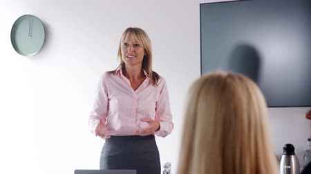 olgun : Mature businesswoman addressing meeting around boardroom table with colleagues - shot in slow motion
