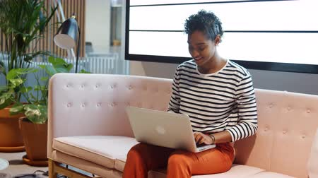 vista lateral : Close up of mixed race businesswoman working on a laptop computer sitting on a sofa in a casual office smiling