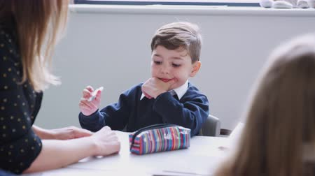 schoolkid : Female teacher sitting at a table with schoolchildren in a primary school lesson, selective focus Stock Footage