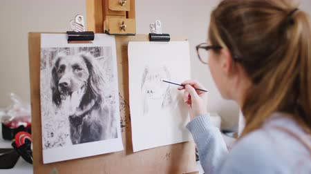 płótno : Over the shoulder view as focus pulls to female teenage artist from outline for portrait of pet dog she is drawing using photograph - shot in slow motion