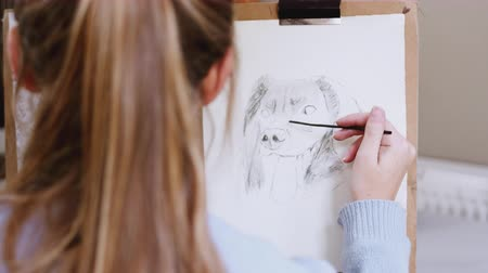 płótno : Over the shoulder view of female teenage artist drawing portrait of pet dog in charcoal - shot in slow motion Wideo