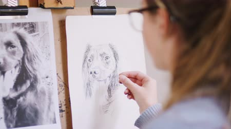 płótno : Female teenage artist draws outline for portrait of pet dog in charcoal from photograph - shot in slow motion