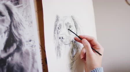 vászon : Female teenage artist draws portrait of pet dog in charcoal from photograph - shot in slow motion