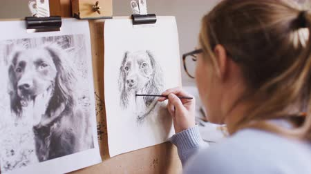 времяпровождение : Female teenage artist draws outline for portrait of pet dog in charcoal from photograph - shot in slow motion