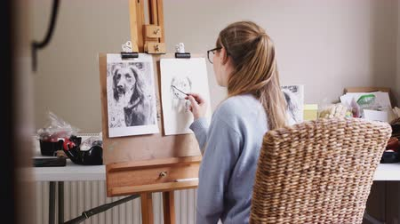 handheld shot : View through doorway as female teenage artist draws outline for portrait of pet dog in charcoal from photograph - shot in slow motion