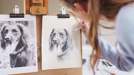 płótno : Female teenage artist draws portrait of pet dog in charcoal from photograph - shot in slow motion