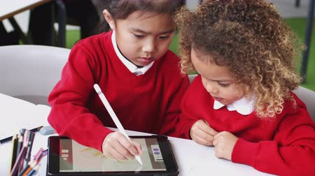 etnia africano : Young mixed race schoolgirls in an infant school classroom drawing using a tablet computer, close up Stock Footage