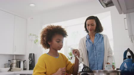 aydınlatmalı : Pre-teen African American girl standing at hob in the kitchen preparing food with her mother, low angle view Stok Video