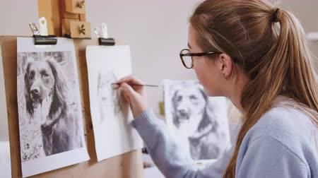 концентрация : Female teenage artist draws outline for portrait of pet dog in charcoal from photograph - shot in slow motion