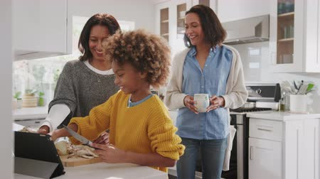 só as mulheres jovens : Pre-teen African American girl preparing food in the kitchen with her grandmother, her mother looking on