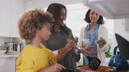 pouze ženy : Pre-teen African American girl cooking food in the kitchen with her grandmother and mother, close up Dostupné videozáznamy