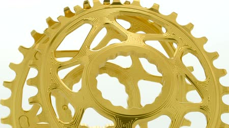 Golden oval bicycle chainring gear rotating on white background