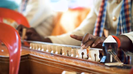 marfim : Cambodian man plying on traditional Khmer instrument called Chakhe. Close up on instrument strings and men fingers during playing. Wedding in Kampot town, Banlung. Stock Footage