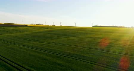 fiação : Beautiful countryside, agricultural fields and wind turbines in the background. Vídeos