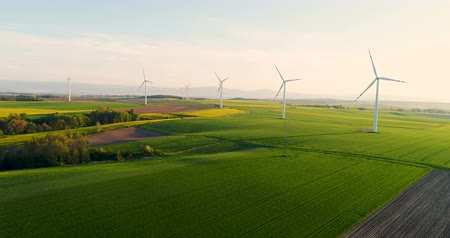 türbin : AGRICULTURE - Aerial view of summer countryside with wind turbines