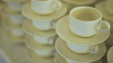 caffe : Coffee Cups prepared for wedding guests. Stock Footage