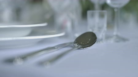 buket : decorated table for a wedding dinner Stok Video