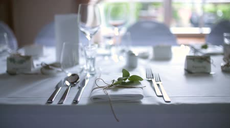 buket : Decorated table for luxury, elegant dinner Stok Video
