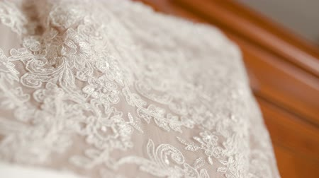 felnőtt : Beautiful white wedding dress detail.