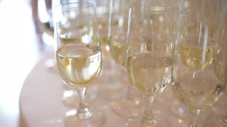 şerefe : Champagne. many champagne Flutes with Sparkling Champagne