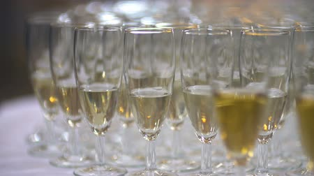 na zdraví : Champagne. many champagne Flutes with Sparkling Champagne