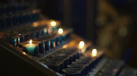 cera : Lit Candles In church Stock Footage