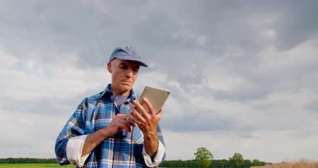 krowa : Farmer using digital tablet at farm against blue sky and clouds. Wideo