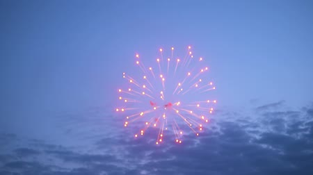sky bomb : Fireworks exploding against sky at night Stock Footage