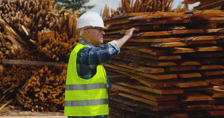 prkna : Male worker examining planks stack