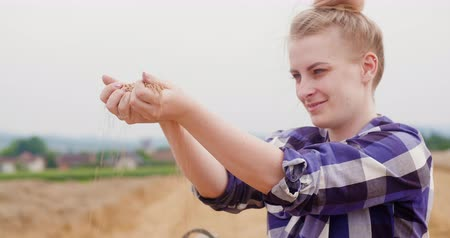 abundância : Young Female Farmer Examining Wheat Grains