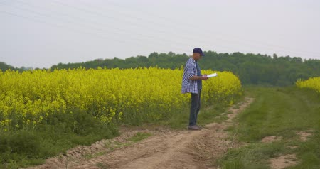 dikkatli : farmer examining agriculture field on farm