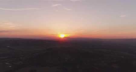 sunset in mountains aerial view